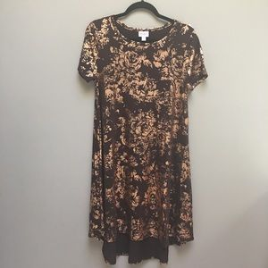 Lularoe Elegant Carly Rose Gold Brown Tunic Hi Low